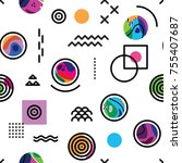 seamless pattern with bright... | Shutterstock .eps vector #755407687