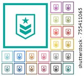 military rank flat color icons... | Shutterstock .eps vector #755411065