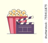 flat icon pop corn box and... | Shutterstock .eps vector #755411875