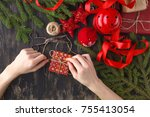 christmas background. top view...   Shutterstock . vector #755413054