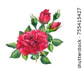 Stock photo red roses watercolor drawing for valentine day card 755415427