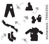 flying moth eaten clothes.... | Shutterstock .eps vector #755415541