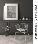 interior modern design room 3d... | Shutterstock . vector #755417065