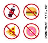 no junk food icons  sugary soda ... | Shutterstock .eps vector #755417509