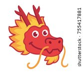 red chinese dragon head icon in ... | Shutterstock .eps vector #755417881