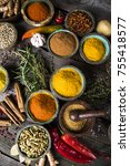 spices and herbs in wooden... | Shutterstock . vector #755418577
