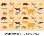 wild animals. multicolored set  ... | Shutterstock .eps vector #755418961