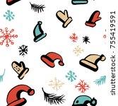 scandinavian seamless pattern... | Shutterstock .eps vector #755419591