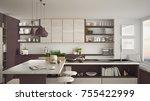 modern wooden kitchen with... | Shutterstock . vector #755422999