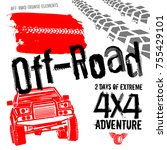 different off road elements... | Shutterstock .eps vector #755429101