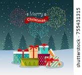 salute  festive fireworks  and... | Shutterstock .eps vector #755431315