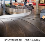 travelers waiting for baggage... | Shutterstock . vector #755432389