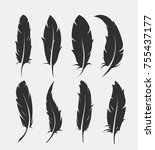 set of old feather for writing... | Shutterstock .eps vector #755437177