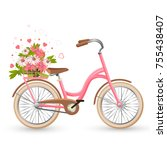 pink bicycle with cart full of... | Shutterstock .eps vector #755438407