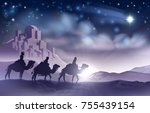 a nativity christmas... | Shutterstock . vector #755439154