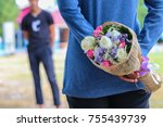 the girl prepares a bouquet for ... | Shutterstock . vector #755439739