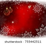 christmas red background with... | Shutterstock .eps vector #755442511