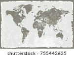 world map in grunge style.old... | Shutterstock .eps vector #755442625