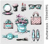 fashion sketch collection of... | Shutterstock . vector #755445991