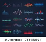 set of isolated music equalizer ... | Shutterstock .eps vector #755450914