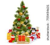 vector christmas tree with... | Shutterstock .eps vector #755454631