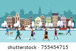 winter city street.winter... | Shutterstock .eps vector #755454715