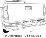car pick up black white outline ... | Shutterstock .eps vector #755457091