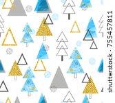 seamless christmas trees...   Shutterstock .eps vector #755457811