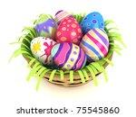 3d illustration of easter eggs... | Shutterstock . vector #75545860
