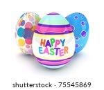 3d Illustration Of Easter Eggs...