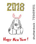 happy 2018 new year card. funny ... | Shutterstock .eps vector #755459551