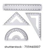 plastic ruler  protractor...   Shutterstock . vector #755460007