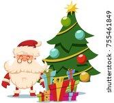 santa claus near christmas tree ... | Shutterstock .eps vector #755461849