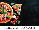 pizza slice with pepperoni ... | Shutterstock . vector #755464381
