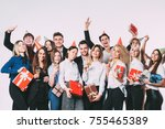 happy group of friends having a ... | Shutterstock . vector #755465389