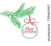 christmas ball on tree branch...   Shutterstock .eps vector #755465947
