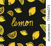 pattern with vector lemons ans... | Shutterstock .eps vector #755466271