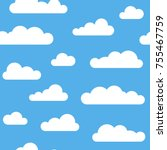 seamless pattern with clouds on ... | Shutterstock .eps vector #755467759