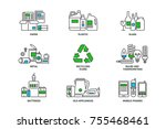 set of recycling icons in line... | Shutterstock .eps vector #755468461