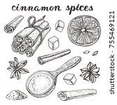 cinamon spices.vinyage hand... | Shutterstock . vector #755469121