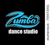 lettering zumba dance studio.... | Shutterstock .eps vector #755473501