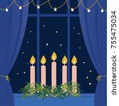 christmas advent wreath with... | Shutterstock .eps vector #755475034