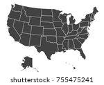 detailed usa map on green... | Shutterstock .eps vector #755475241