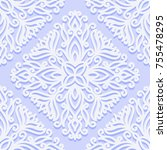 seamless pattern with vintage... | Shutterstock .eps vector #755478295