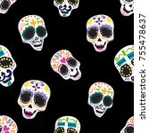 vintage seamless pattern with... | Shutterstock .eps vector #755478637