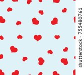 seamless red hearts pattern on... | Shutterstock .eps vector #755480761