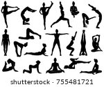 set of vector silhouettes of... | Shutterstock .eps vector #755481721