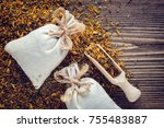 background of dry marigold... | Shutterstock . vector #755483887