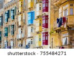 street with colorful balconies... | Shutterstock . vector #755484271