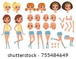 cirl character creation set ... | Shutterstock .eps vector #755484649